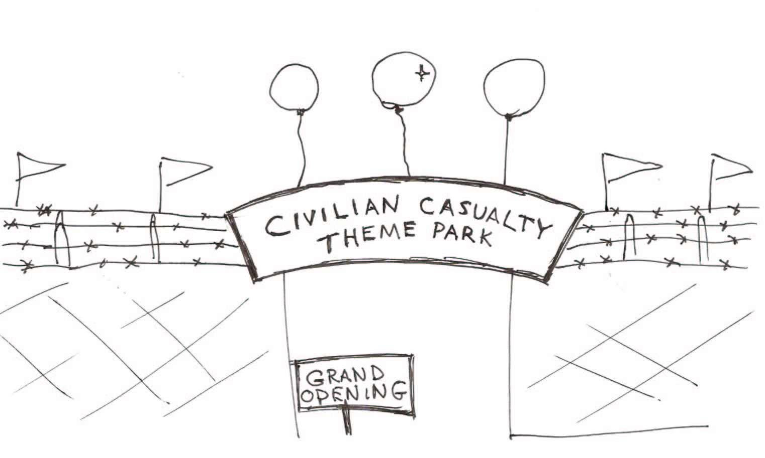 New Civilian Casualty Theme Park lets you experience the thrills and spills of being a CIVILIAN WAR VICTIM!