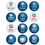 Obama button collage poster: Change we can believe in