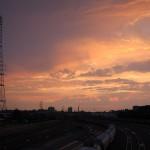 railroad track clouds