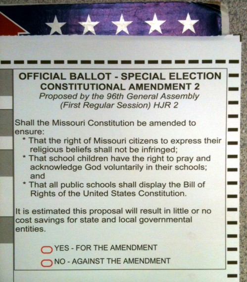 Religion ballot in Missouri